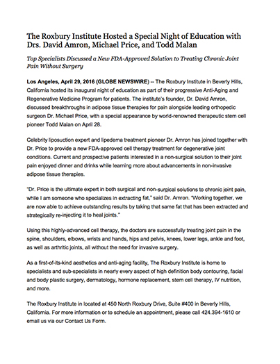 Beverly Hills Liposuction Dr. Amron April 29, 2016  Press Release
