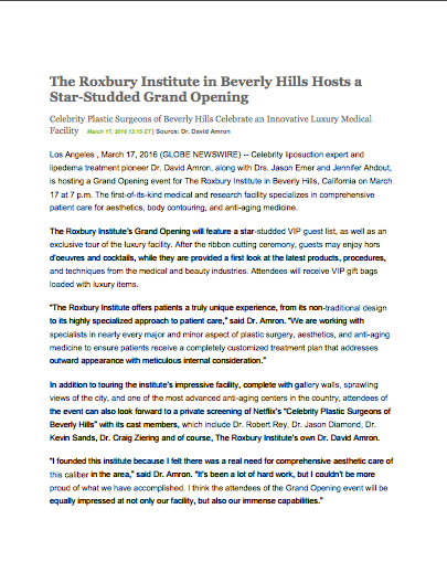 Beverly Hills Liposuction Dr. Amron February 3, 2016 Press Release